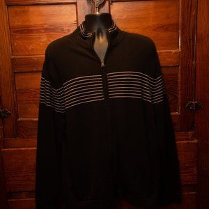 Banana Republic black sweater with white stripes
